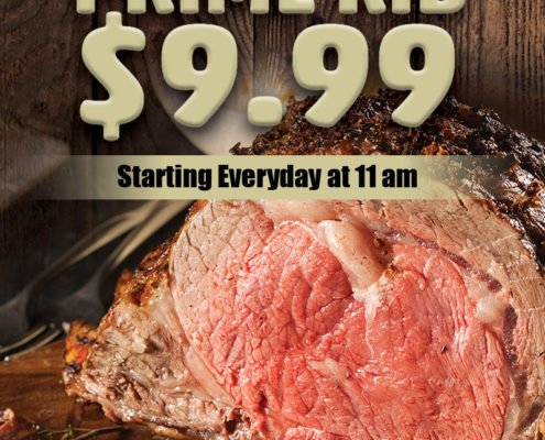 Daily prime rib $9.99 Starting every day at 11am | Stockmen's Casino