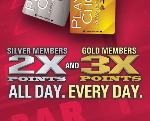 Silver Members 2X Points ALL DAY, Gold Members 3X Points ALL DAY